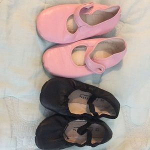 Girls ballet and dance shoe set of 2 pair.